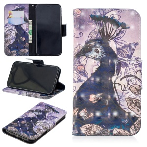 Pattern Printing Light Spot Decor Magnetic Leather Stand Cover for iPhone XR 6.1 inch - Peacock