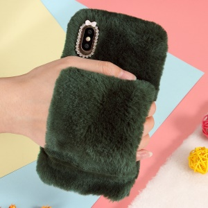 For iPhone XS Max 6.5 inch Back Case [Wrist Strap] Soft Faux Fur Coated Rhinestone TPU Case - Blackish Green