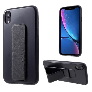 ROAR Aura Series TPU Casing Shell with PU Leather Kickstand for iPhone XR 6.1 inch - Black