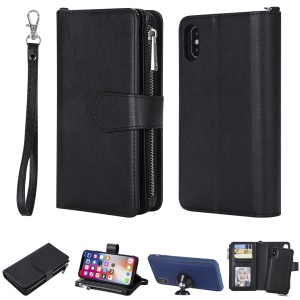 Detachable 2-in-1 TPU + Zipper Wallet Stand Leather Portable Casing for iPhone XS / X 5.8 inch - Black
