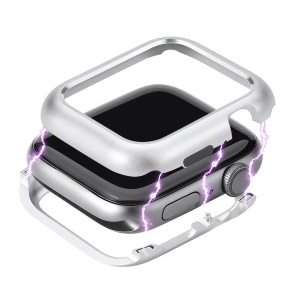 Magnetic Adsorption Case Protective Metal Frame Cover for Apple Watch Series 4 44mm - Silver