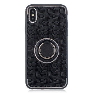 For iPhone X Mosaic Pattern Metal PC TPU Hybrid Phone Case with Finger Ring Kickstand - Black
