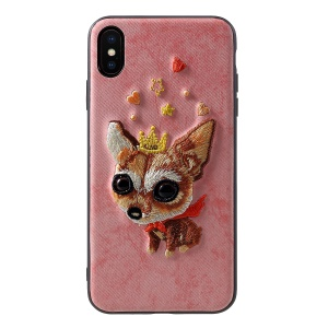 MUTURAL 3D Embroidery PU Leather Coated Plastic Protective Cover for iPhone XS Max 6.5 inch - Dog and Crown