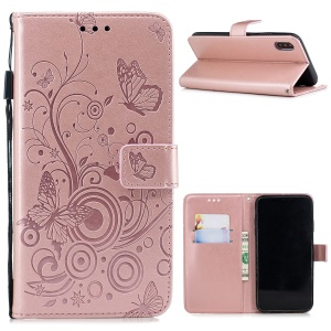 Imprinted Butterfly Flower PU Leather Mobile Case for iPhone XS/X 5.8 inch - Rose Gold