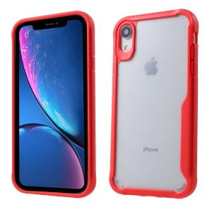 Silicone Edge + Clear Acrylic Back Hybrid Case for iPhone XR 6.1 inch - Red