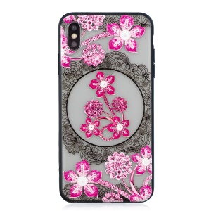 Lace Embossment Pattern PC TPU Hybrid Cover for iPhone XS Max 6.5 inch - Pink Flower