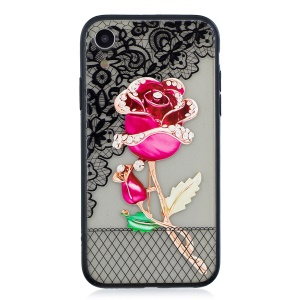 Lace Embossment Pattern PC TPU Hybrid Mobile Phone Case for iPhone XR 6.1 inch - Rose