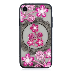 Lace Embossment Pattern PC TPU Hybrid Mobile Phone Cover for iPhone XR 6.1 inch - Pink Flower