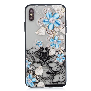 Lace Embossment Pattern PC TPU Hybrid Cellphone Case for iPhone XS / X 5.8 inch - Blue Flower