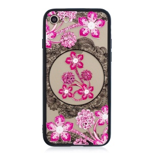 Lace Embossment Pattern PC TPU Combo Phone Shell for iPhone 8 / 7 4.7 inch - Pink Flower