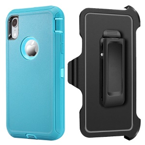 For iPhone XR 6.1-inch Heavy Duty PC + TPU Protection Cover with [Belt Clip Kickstand] - Light Blue