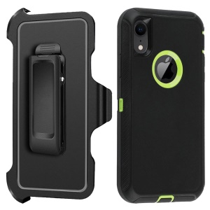 For iPhone XR 6.1-inch Heavy Duty PC + TPU Cell Phone Cover with [Belt Clip Kickstand] - Green / Black