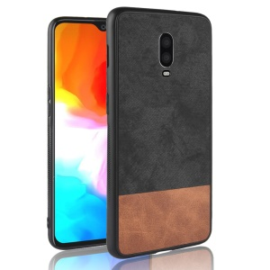 [Bi-color Splicing] PU Leather Coated PC + TPU Hybrid Phone Case for OnePlus 6T - Black