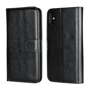 Detachable 2-in-1 Crazy Horse Leather Wallet Shell + TPU Back Case for iPhone XS 5.8 inch - Black
