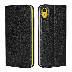 Litchi Skin Auto-absorbed Genuine Leather Card Holder Cellphone Case for iPhone XR 6.1 inch - Black