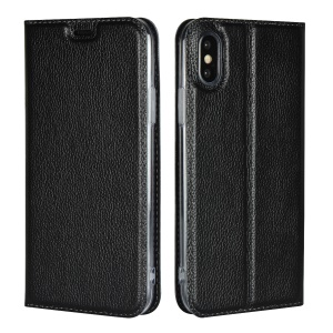 For iPhone XS 5.8 inch Litchi Skin Ultra Thin Genuine Leather Auto-absorbed Case - Black