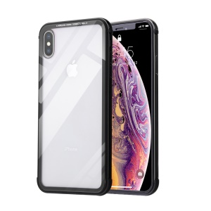 HOWMAK Two-color Metal Bumper + Tempered Glass Back Hard Cover for iPhone XS/X - Black
