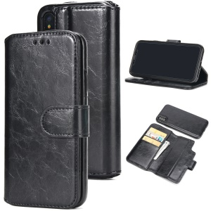 2-in-1 Detachable Oil Buffed Leather Wallet Case Stand for iPhone XS Max 6.5 inch - Black