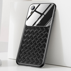 BASEUS Tempered Glass Lens Woven Texture Heat Dissipation TPU Back Cover for iPhone XR 6.1 inch - Black
