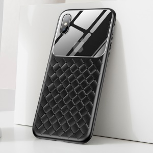 BASEUS Tempered Glass Lens Woven Texture Heat Dissipation TPU Back Casing for iPhone XS 5.8 inch - Black