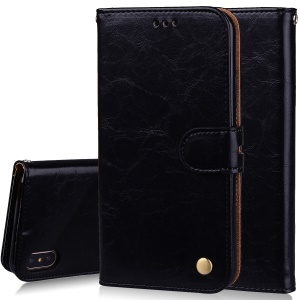 HAT PRINCE Oil Wax PU Leather Wallet Phone Case for iPhone XS Max 6.5 inch - Black