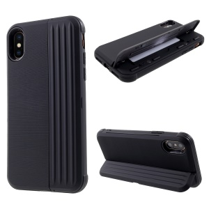 PC + TPU Kickstand Case with Card Slot for iPhone XS / X 5.8 inch - Black
