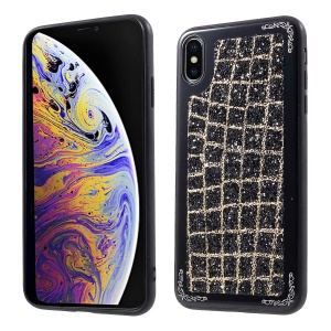 Grid Pattern Glittering Sequins TPU Metal Phone Cover for iPhone XS Max 6.5 inch - Black