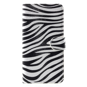 Pattern Printing Leather Wallet Cover for iPhone XR 6.1 inch - Zebra Stripes