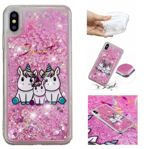 Dynamic Glitter Powder Heart Shaped Sequins TPU Shockproof Case for iPhone XS Max 6.5 inch - Lovely Unicorn