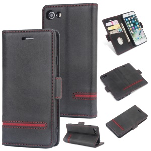 Business Style Splicing Leather Wallet Case for iPhone 8 / 7 - Black
