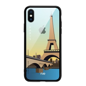 NXE Pattern Printing Tempered Glass Back + Bayer TPU Hybrid Case for iPhone XS 5.8 inch - Paris