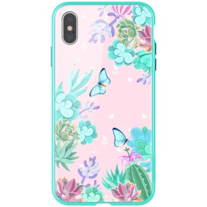 NILLKIN Floral Case Colorful Tempered Glass + Hard PC Quadruple Protective Case for iPhone XS Max 6.5 inch