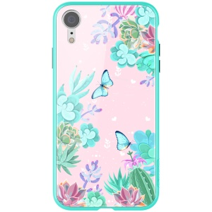 NILLKIN Floral Case Colorful Tempered Glass + Hard PC Quadruple Protective Case for iPhone XR 6.1 inch