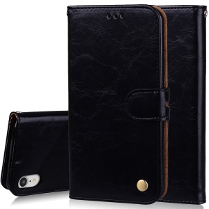 HAT PRINCE Oil Wax PU Leather Wallet Phone Case for iPhone XR 6.1 inch - Black