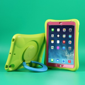 PEPKOO Cool EVA Shockproof Case with 360 Degree Rotary Kickstand for iPad 9.7-inch (2018) / (2017) - Green / Blue