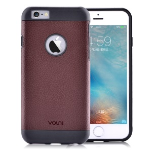 VOUNI Axe Genuine Leather Coated TPU Case Protector for iPhone 6s 6 - Brown