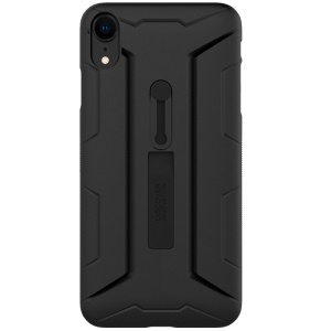 NILLKIN Fingerproof Matte Surface Hard PC Case with Soft Silicone Finger Grip Ring Holder for iPhone XR 6.1 inch - Black