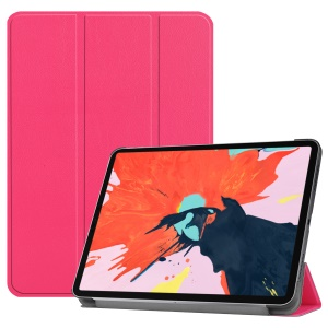 Tri-fold Stand PU Leather Smart Tablet Case for iPad Pro 12.9-inch (2018) - Rose
