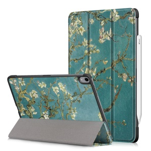Patterned Tri-fold Stand Leather Smart Case for iPad Pro 11-inch (2018) Support Apple Pencil Wireless Charging - Almond Tree in Blossom