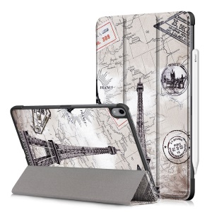 Patterned Tri-fold Stand Leather Smart Protective Tablet Case for iPad Pro 11-inch (2018) - Eiffel Tower and Map