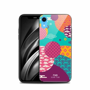 NXE Hybrid Case for iPhone XR 6.1 inch Pattern Printing TPU Edges 9H Glass Case - Style A