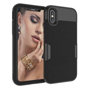 For iPhone XS 5.8 inch 3-in-1 Case Matte Surface PC Silicone Hybrid Shockproof Case - All Black