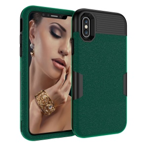 For iPhone XS 5.8 inch 3-in-1 Cell Phone Case Matte Surface PC Silicone Hybrid Shockproof Case - Black / Green