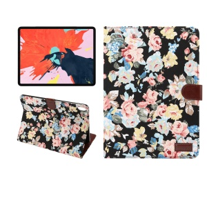 Flower Cloth Skin PU Leather Smart Case for iPad Pro 11-inch (2018) - Black