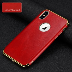 SULADA Electroplating PU Leather Coated TPU Phone Case for iPhone XS Max 6.5 inch (Built-in Metal Sheet) - Red