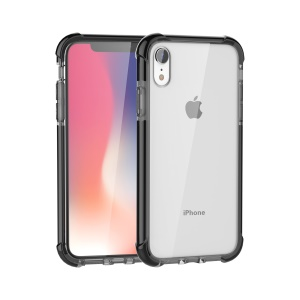 Drop-resistant Clear Acrylic Case for iPhone XR 6.1 inch [Four Corners Cushioning] - Grey / Black