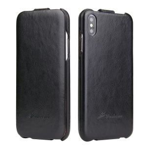 Crazy Horse Texture Vertical Flip Leather Mobile Case for iPhone XS Max 6.5 inch - Black