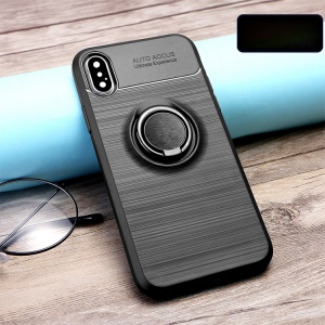 Finger Ring Kickstand Brushed TPU Mobile Case for iPhone XS/X (Built-in Magnetic Metal Sheet) - Black