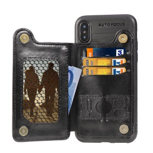 Magnetic PU Leather Coated TPU Mobile Case with [Wallet Kickstand] for iPhone XS Max 6.5 inch - Black