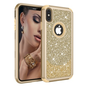 3-in-1 Flash Powder Diamond PC Silicone Hybrid Drop-proof Case for iPhone XS Max 6.5 inch - Gold